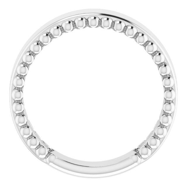 14K White Engravable Beaded Ring