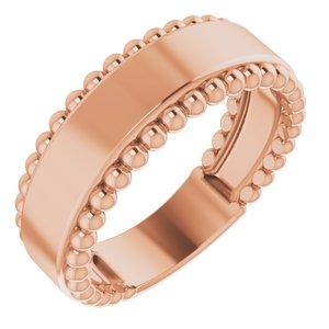 14K Rose Engravable Beaded Ring