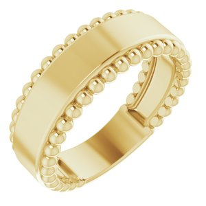 14K Yellow Engravable Beaded Ring