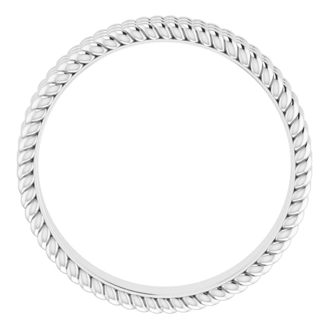14K White 5.25 mm 3-Layered Stacked Rope Band Size 7