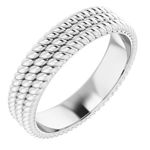 Platinum 5.25 mm 3-Layered Stacked Rope Band Size 5