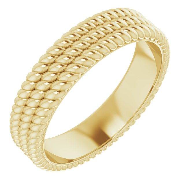 14K Yellow 5.25 mm 3-Layered Stacked Rope Band Size 5
