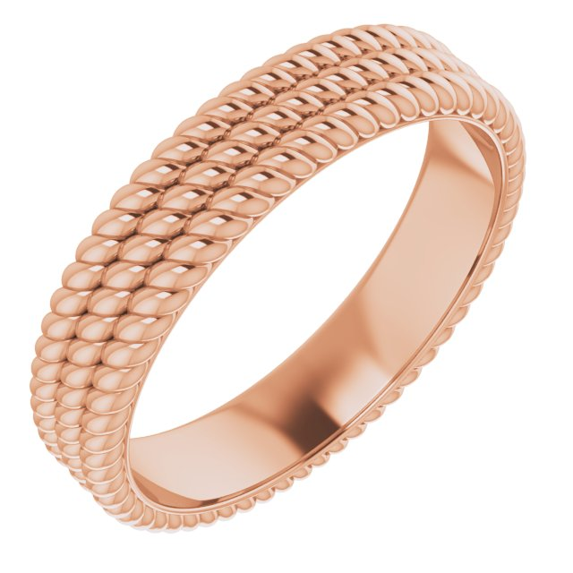 14K Rose 5.25 mm 3-Layered Stacked Rope Band Size 7