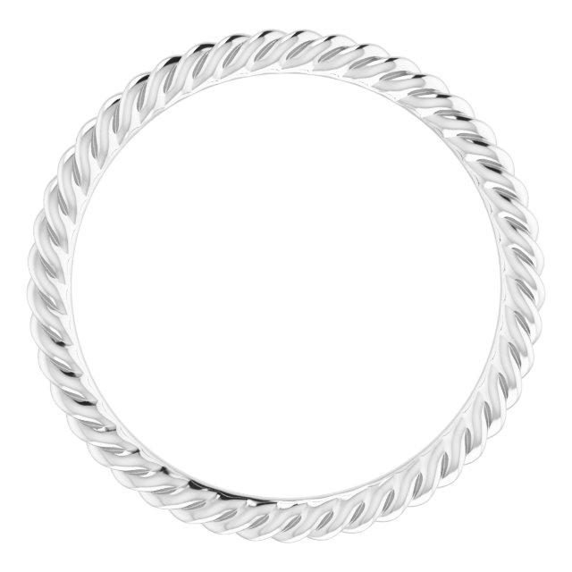 14K White 1.5 mm Skinny Rope Band Size 4.5
