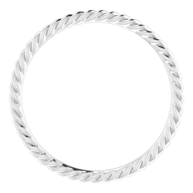 14K White 1.5 mm Skinny Rope Band Size 8.5