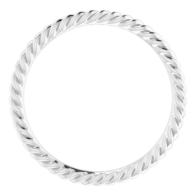 14K White 1.5 mm Skinny Rope Band Size 5.5