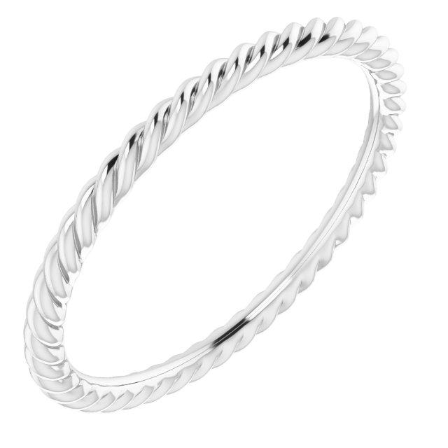 14K White 1.5 mm Skinny Rope Band Size 6.5
