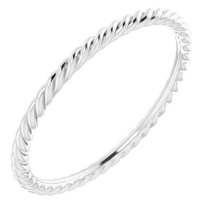 14K White 1.5 mm Skinny Rope Band Size 8.5
