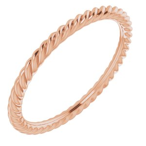 10K Rose 1.5 mm Skinny Rope Band Size 5
