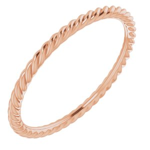 10K Rose 1.5 mm Skinny Rope Band Size 8