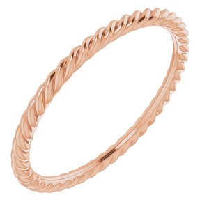 14K Rose 1.5 mm Skinny Rope Band Size 7