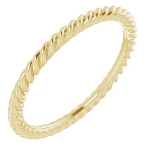 14K Yellow 1.5 mm Skinny Rope Band Size 4