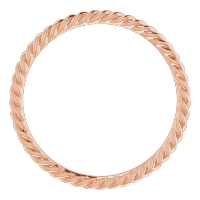 14K Rose 1.5 mm Skinny Rope Band Size 7.5