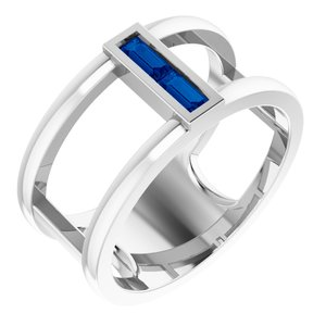 14K White Chatham® Lab-Created Blue Sapphire Baguette Ring