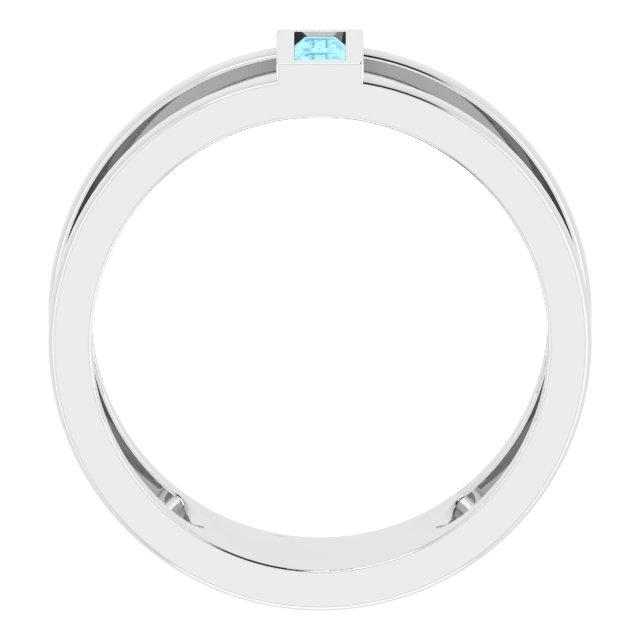 14K White Aquamarine Baguette Ring