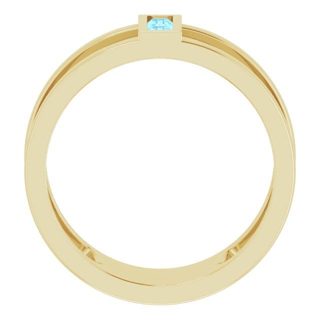 14K Yellow Aquamarine Baguette Ring