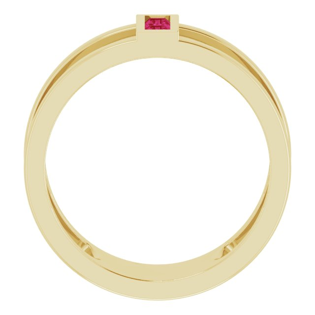 14K Yellow Ruby Baguette Ring