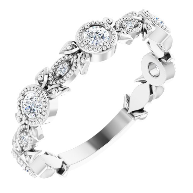 14K White 1/3 CTW Diamond Leaf Ring