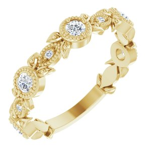 14K Yellow 1/3 CTW Diamond Leaf Ring