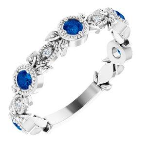 14K White Lab-Grown Blue Sapphire & .03 CTW Diamond Ring