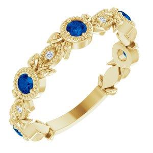 14K Yellow Blue Sapphire & .03 CTW Diamond Leaf Ring