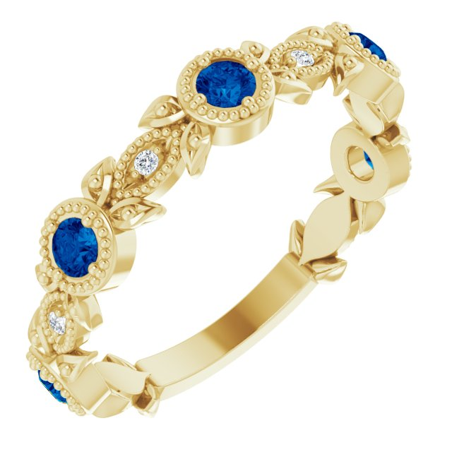 14K Yellow Lab-Grown Blue Sapphire & .03 CTW Diamond Ring