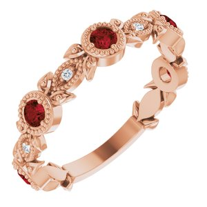 14K Rose Mozambique Garnet & .03 CTW Diamond Leaf Ring