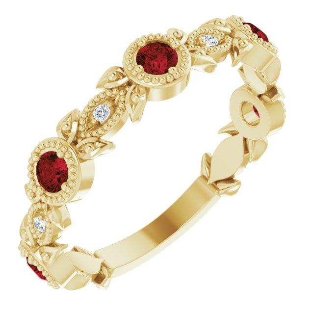 14K Yellow Mozambique Garnet & .03 CTW Diamond Leaf Ring