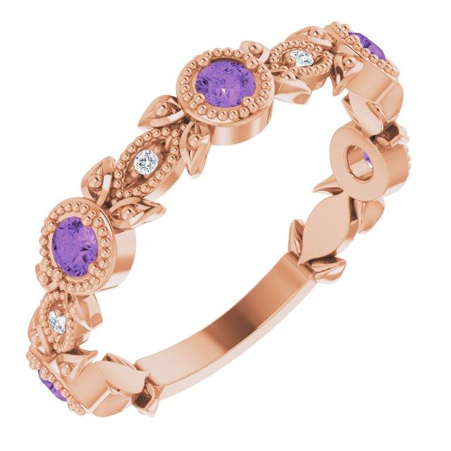 14K Rose Amethyst & .03 CTW Diamond Leaf Ring