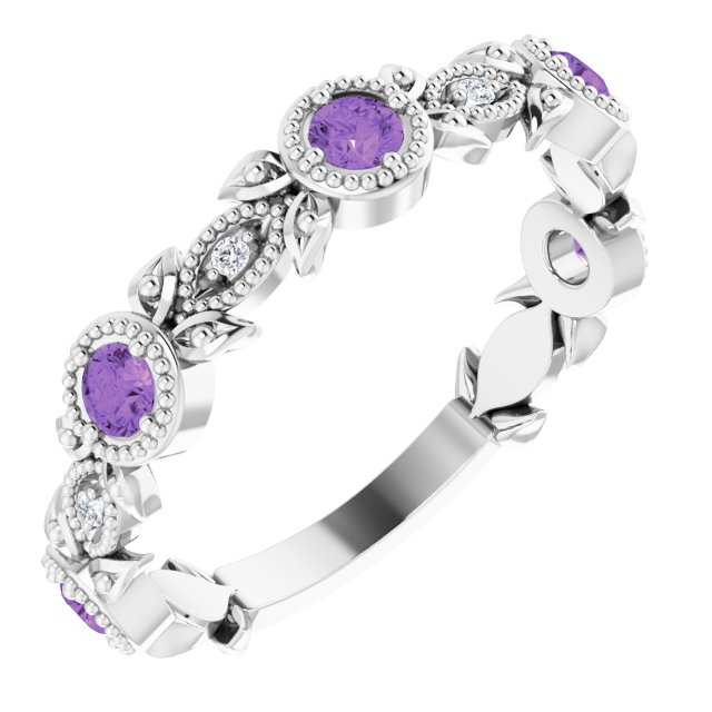 14K White Amethyst & .03 CTW Diamond Leaf Ring