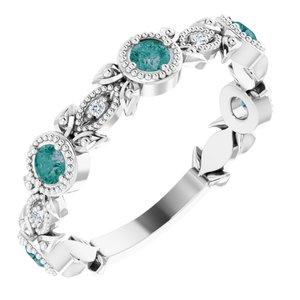 14K White Chatham® Lab-Created Alexandrite & .03 CTW Diamond Ring