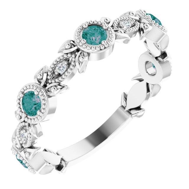 Sterling Silver Lab-Grown Alexandrite & .03 CTW Diamond Ring