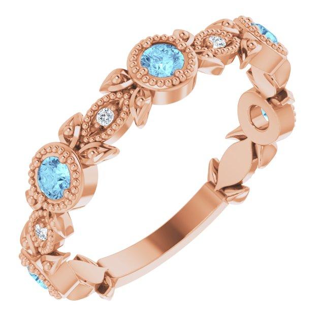 14K Rose Aquamarine & .03 CTW Diamond Leaf Ring