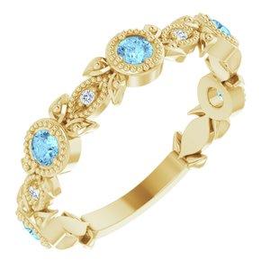 14K Yellow Aquamarine & .03 CTW Diamond Leaf Ring