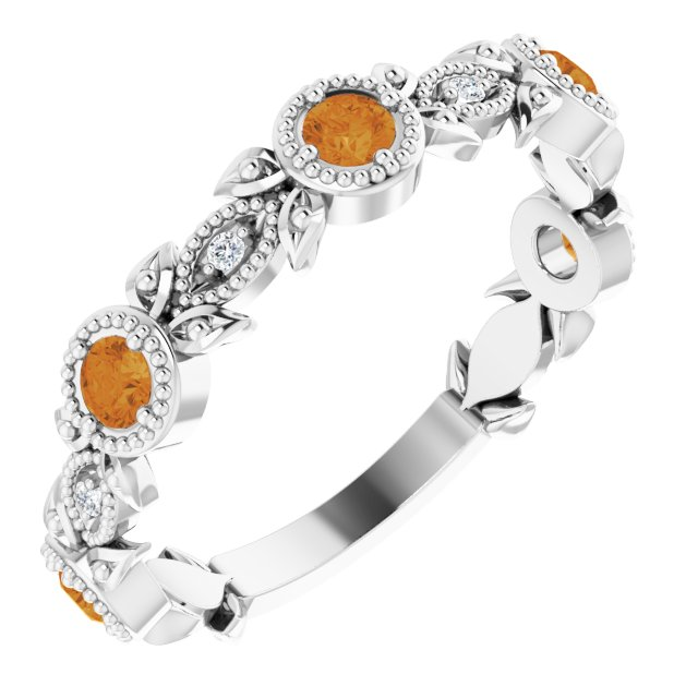 14K White Citrine & .03 CTW Diamond Leaf Ring