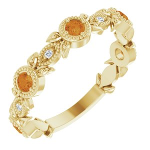 14K Yellow Citrine & .03 CTW Diamond Leaf Ring