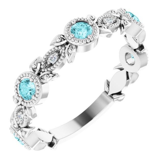 14K White Blue Zircon & .03 CTW Diamond Leaf Ring