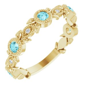 14K Yellow Blue Zircon & .03 CTW Diamond Leaf Ring