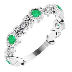 14K White Chatham® Lab-Created Emerald & .03 CTW Diamond Ring