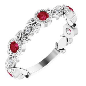 14K White Chatham® Lab-Created Ruby & .03 CTW Diamond Ring