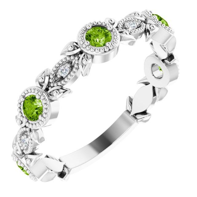14K White Peridot & .03 CTW Diamond Leaf Ring