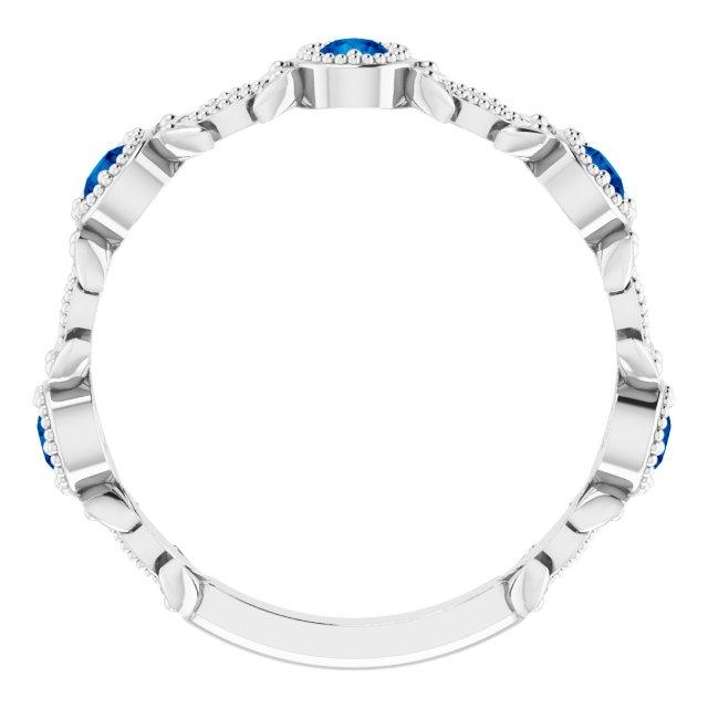 14K White Chatham® Created Blue Sapphire & .03 CTW Diamond Leaf Ring