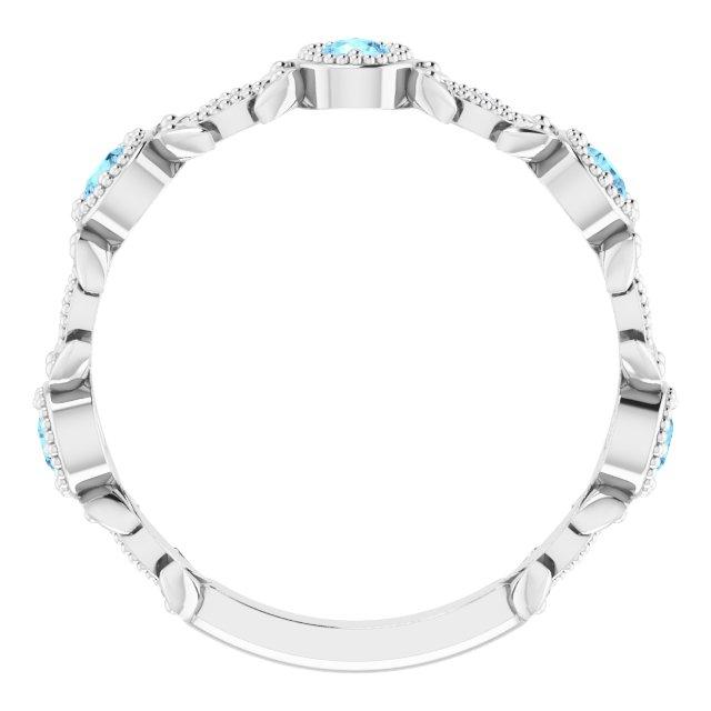 Sterling Silver Aquamarine & .03 CTW Diamond Leaf Ring