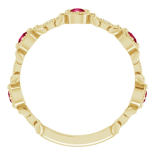 14K Yellow Lab-Grown Ruby & .03 CTW Diamond Ring