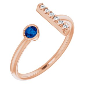14K Rose Blue Sapphire & .05 CTW Diamond Bar Ring