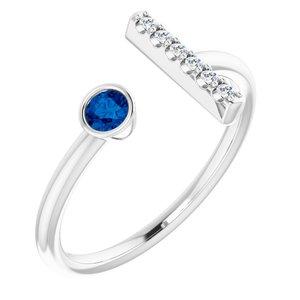 14K White Blue Sapphire & .05 CTW Diamond Bar Ring