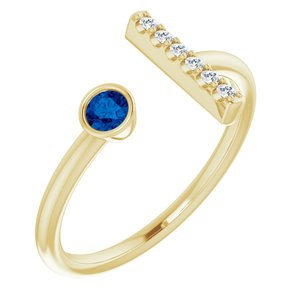 14K Yellow Blue Sapphire & .05 CTW Diamond Bar Ring