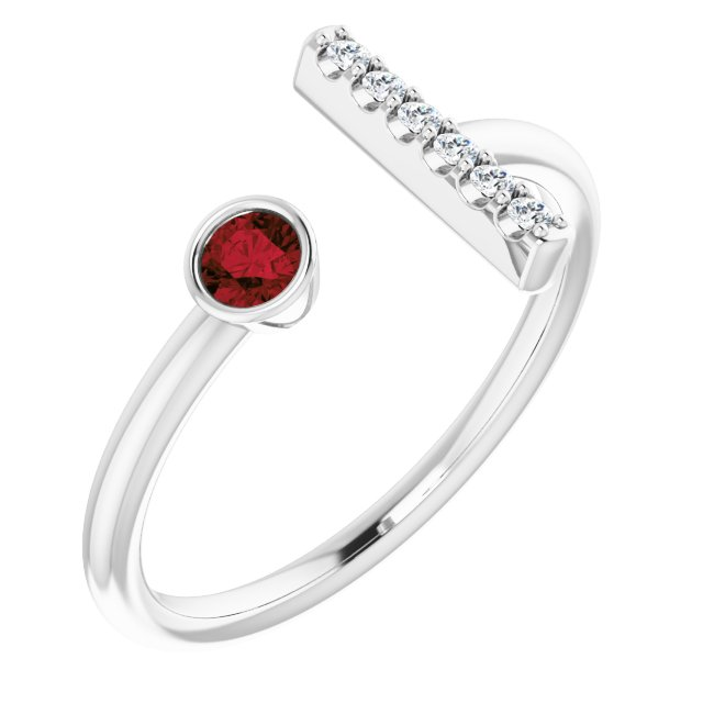 14K White Mozambique Garnet & .05 CTW Diamond Bar Ring