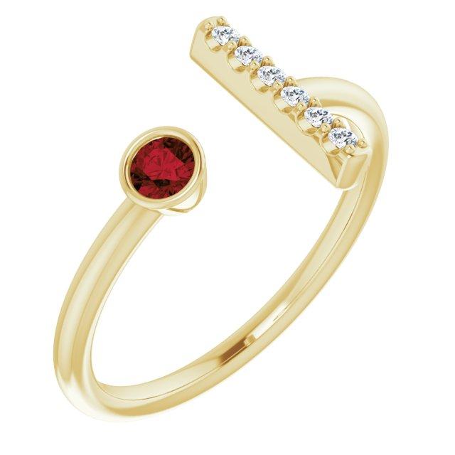 14K Yellow Mozambique Garnet & .05 CTW Diamond Bar Ring