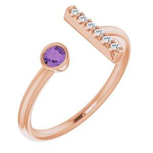 14K Rose Amethyst & .05 CTW Diamond Bar Ring